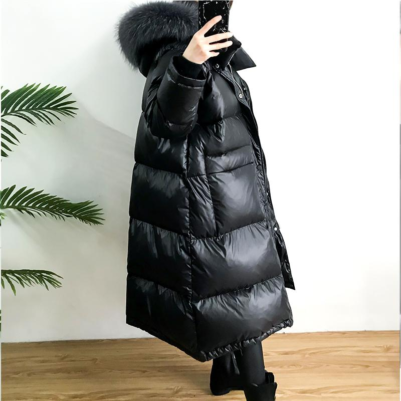 Real Raccoon Fur Collar 2019 Winter Coat Women White Duck Down Jacket Thick Casual Plus Size Long Down Parka Hooded Warm Outwear