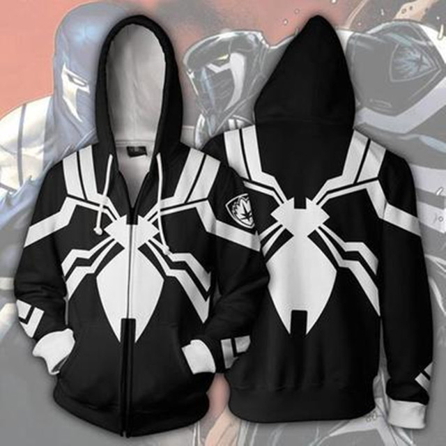 bb6b7fb58 Cosplay los Vengadores Venom Spiderman cremallera con capucha tops negro  blanco chaqueta sudadera hombres disfraces de