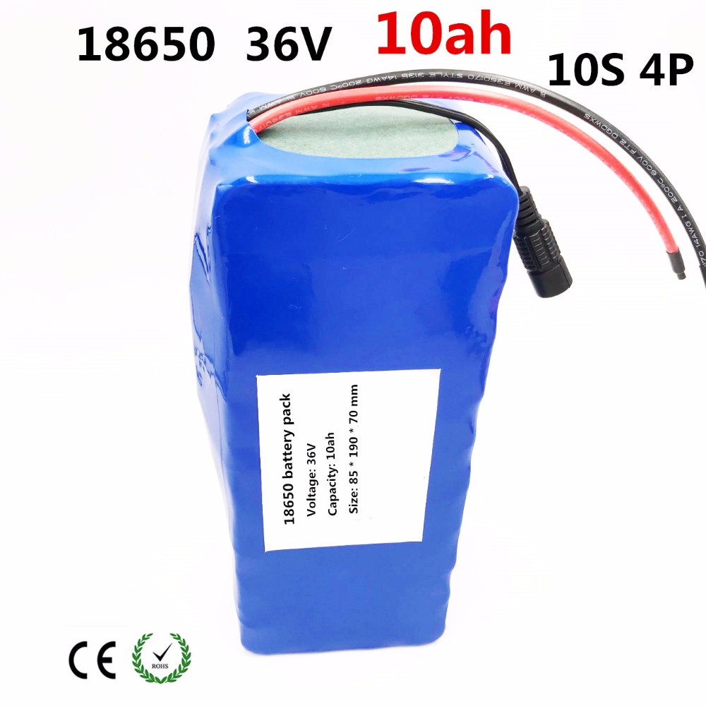 36V 10ah electric bicycle battery pack 18650 Li-Ion Battery 10S4P 500W High Power and Capacity 42V Motorcycle Scooter with BMS