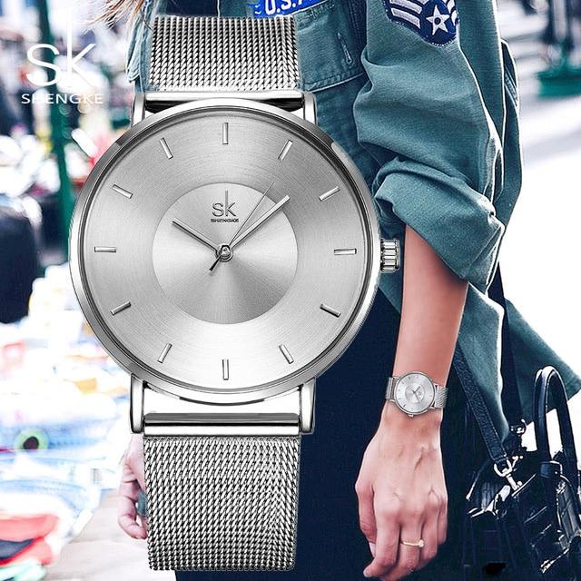 Shengke Simple Women Watches 2017 Ladies Wristwatch Ultra thin Quartz WatchLadies Ribbon Watch Relogio Feminino SK dropshipping women quartz watch with cartoon ribbon