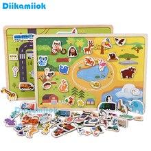 Quebra cabeças magnético de madeira, brinquedo educacional para aprendizado infantil, de animais e tráfego