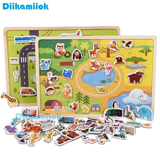 Rompecabezas magnético de madera para niños, juego de animales y vehículos de tráfico, juguetes educativos de aprendizaje preescolar, rompecabezas para niños