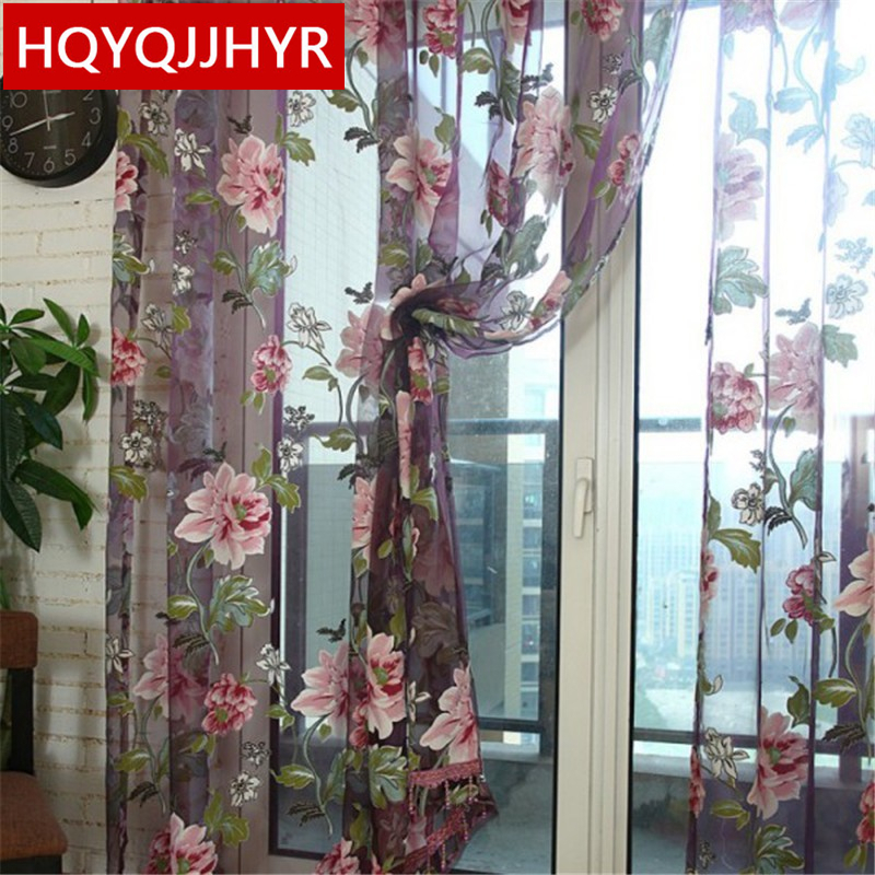 European-style Garden Printed Tulle For Living Room / Kitchen Rose Printed Tulle Curtains For Bedroom/ Balcony /window