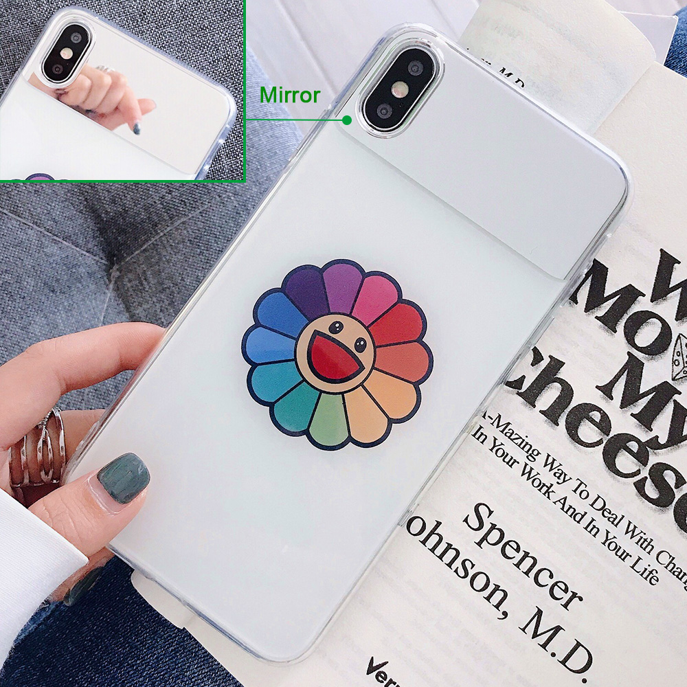 KIPX1126C_2_JONSNOW Mirror Soft Case for iPhone 6S 7 8 Plus X XS XR XS Max Cover Cases Glossy Flower Heart Pattern Mirror Protector