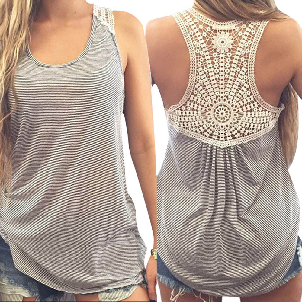 af69a43835a72 New Design Women Sexy Tank Tops Fashion womens tops lace Stitching crochet  Crochet Back Striped Vest Casual
