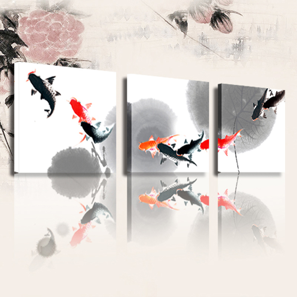 FREE SHIPPING Modern Fishes Painting Canvas Print Canvas Art Oil Painting(Unframed)50x50cmx3pcs
