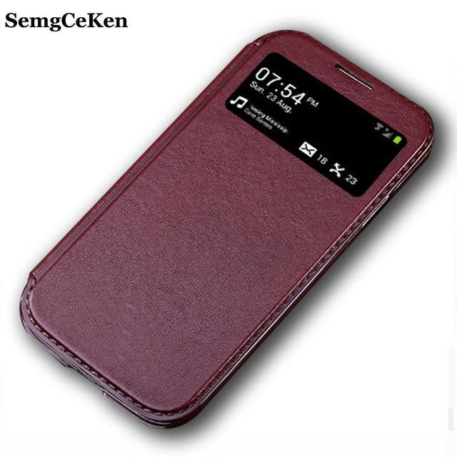 SemgCeKen luxury original flip leather case for samsung galaxy s4 mini s4mini i9195 pu window hard back phone cover coque cases