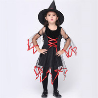 Christmas Festival Girl Show Dress Classic Witch Dress Kids With Hat Costume For Halloween Party Girls