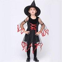 Navidad Festival chica mostrar vestido clásico vestido de bruja niños con sombrero para Halloween party Niñas negro Cosplay vestido