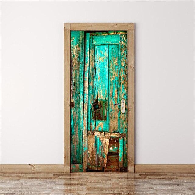 Estantería de libros, estantería Vintage de madera para puerta, pegatinas de puerta y pared para habitación de niños, pegatina para escena de balcón, Baño