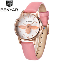 BENYAR Fashion Casual Bee Quartz Watch Women Leather Strap Montre Femme Luxury Women Watches Waterproof Relojes