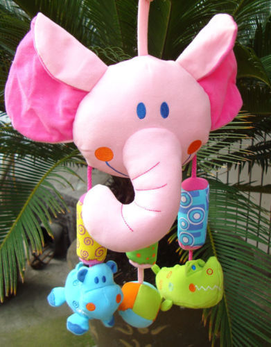 Candice guo plush toy stuffed doll Pink Elephant animal bed hang windbell aeolian bell ring rattle baby Rattles Mobiles gift 1pc