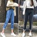Pantalones Vaqueros de Cintura alta Para Las Mujeres Denim Jeans Mujer 2017 Casual Vaqueros BF mujeres Femme Mujeres Azules Jeans Rectos Pantalones Pantalones E397