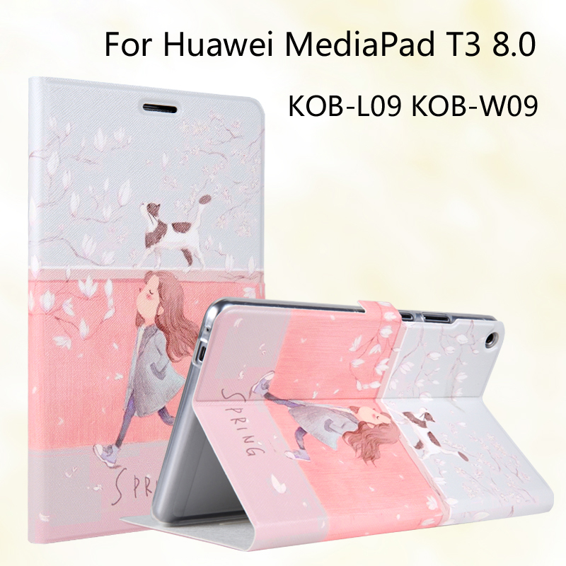 Fashion Painted Flip PU Leather For Huawei MediaPad T3 8.0 KOB-L09 KOB-W09 8.0 inch Tablet Case Cover + Stylus + Film cover case for huawei mediapad m3 youth lite 8 cpn w09 cpn al00 8 tablet protective cover skin free stylus free film