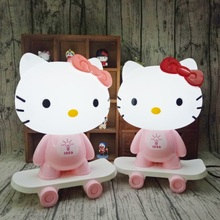 Pink/Red LED Table Lamps Hello Kitty Cartoon Skateboard Table Light Kids Gift Bedroom Bedside 3D Creative Night Light