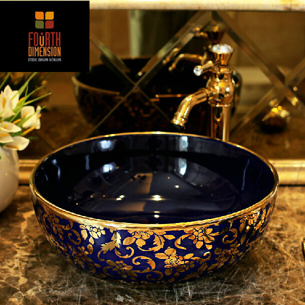 2colors Gold And Silver Flower Vine Deep Blue Ceramic Bathroom Sink China Mainland