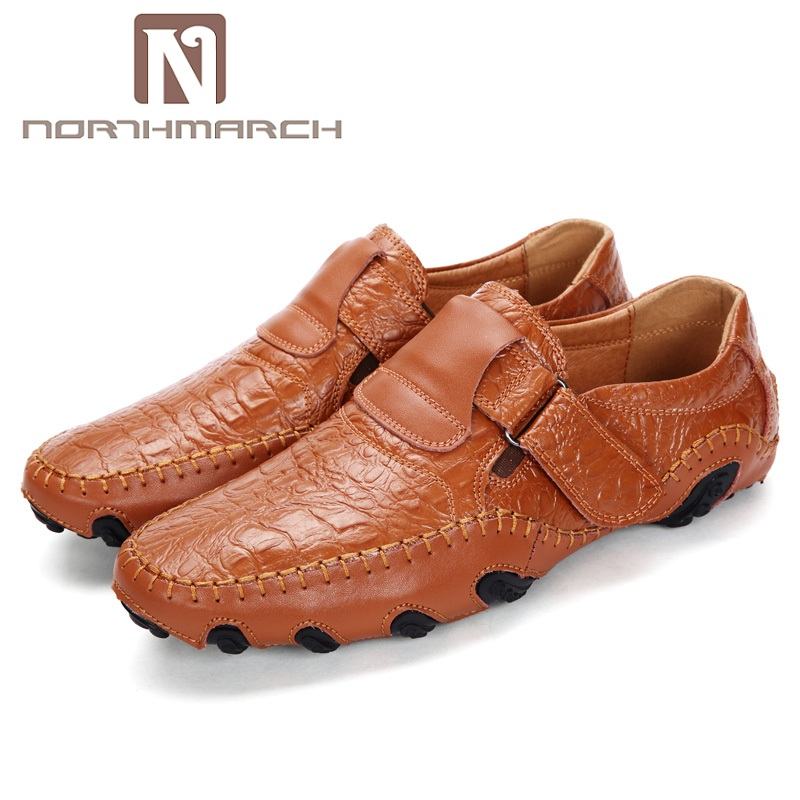 NORTHMARCH Fashion British Style Men Causal Shoes Genuine Leather Men Shoes Slip On Men Breathable Men Loafers Driving Shoes