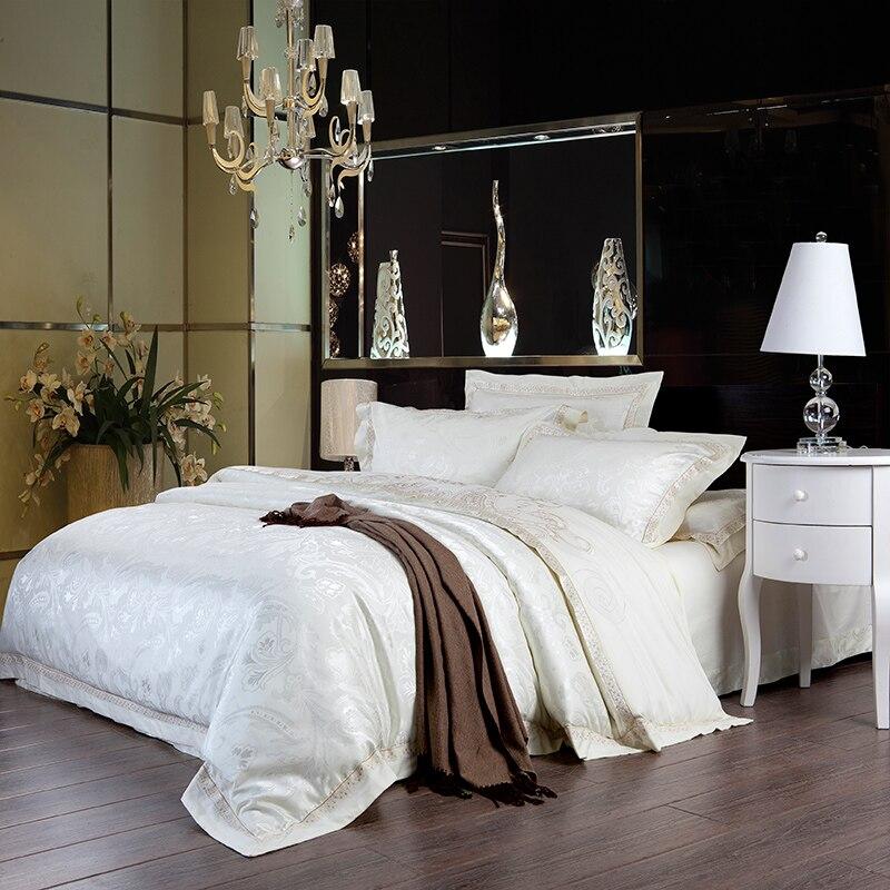Ensemble de literie de luxe blanc coton reine taille drap de lit dentelle jacquard taie d'oreiller 800TC satin soie maison textile couvre-lit de mariage