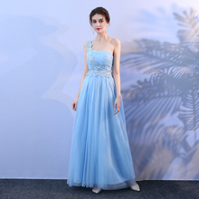 ae90ce52e60 Light Blue One Shoulder Long Bridesmaid Dress Clearance Sale Cheap  Bridesmaid Dresses SW1939