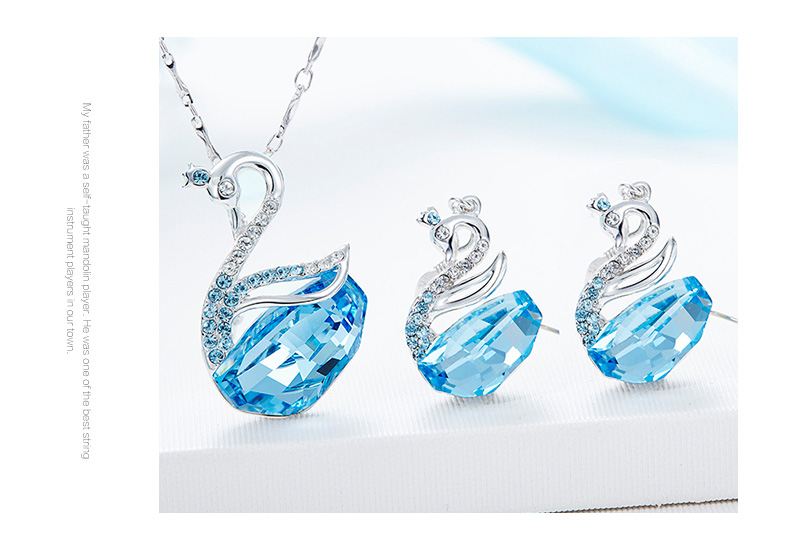 Swarovski Swan Necklace Earrings Set (13)