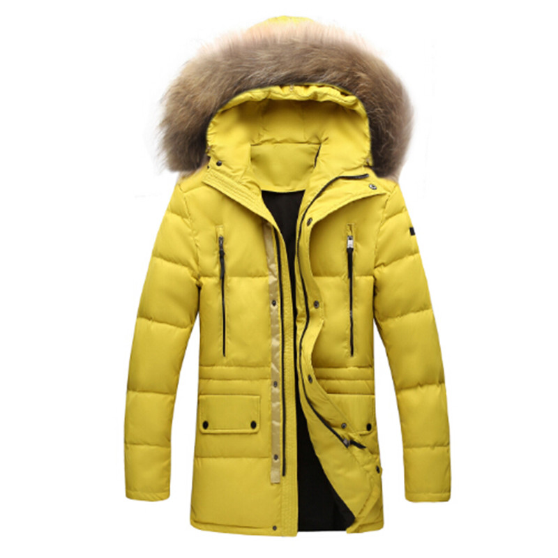 Parka Men Winter Jacket Fur Hood Duck Down Quilted Coat Long Warm Thick Multi Pocket Solid Blue Yellow High Fashion Men Clothing 2016 black big plus size korea fashion female outwear thick warm parka oversize fur duck down winter coat women retro with hood