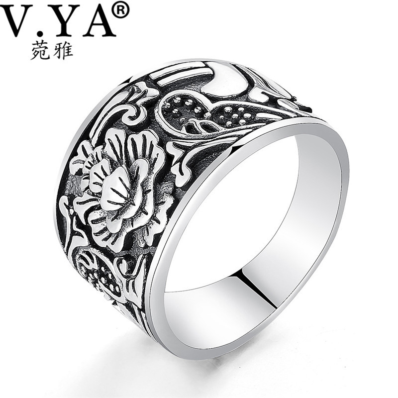 V.YA Vintage Solid 925 Sterling Silver Ring Men Jewelry Romantic Flower Thai Silver Ring for Women Male Lovers 925 pure silver ring crystal vintage ring thai silver rose manjaris women flower ring