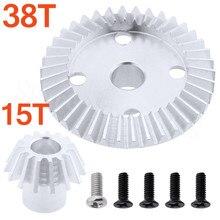 Metal Differential Mechanism Gear 38T & Diff Bevel Pinion 15T for WLtoys 1/18 A949 A959 A969 A979 K929 A959B A949-23 Spare Parts