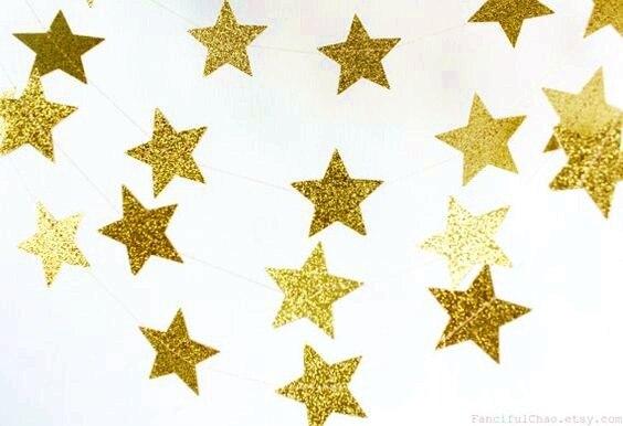 Gold Glitter Star Garland Star Banner Star Decor First Birthday Baby Shower Birthday Nursery Wedding Bridal Shower Photo Prop