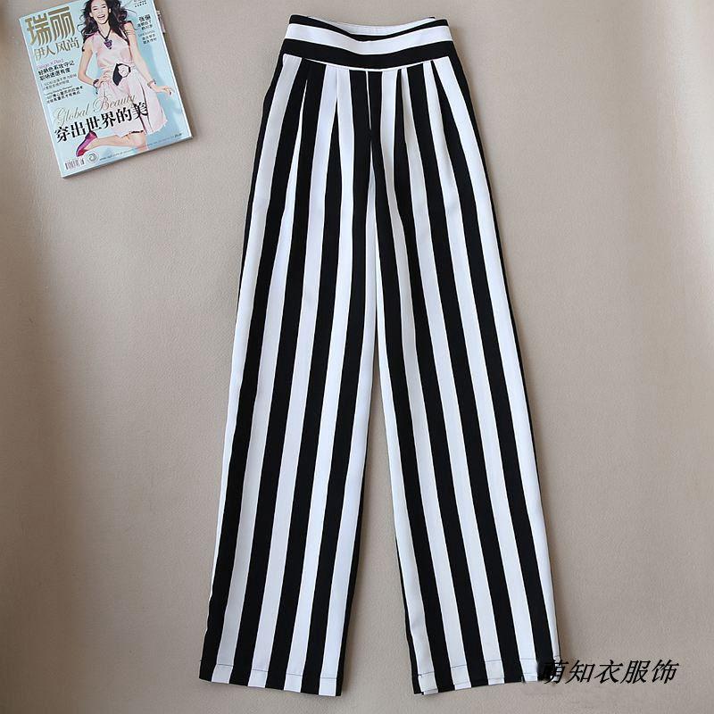 2018 printemps été nouvelle femme taille haute lâche large jambe pantalon noir et blanc rayé occasionnel pantalon grande taille droite pantalon