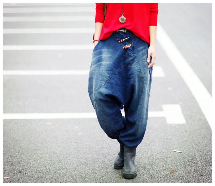 2016 Autumn New retro baggy denim pants Female large size Wide Leg Pants Boyfriend Loose jeans women 100710