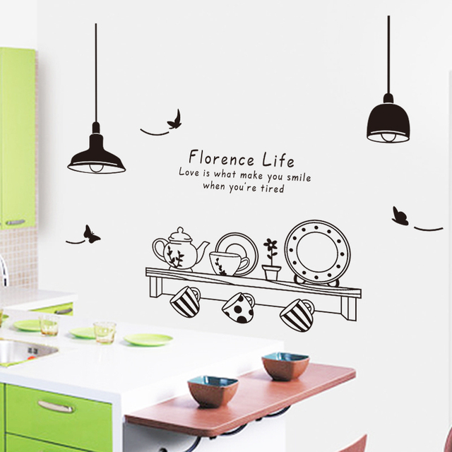 decorative florence life removable modern wall stickers kitchen