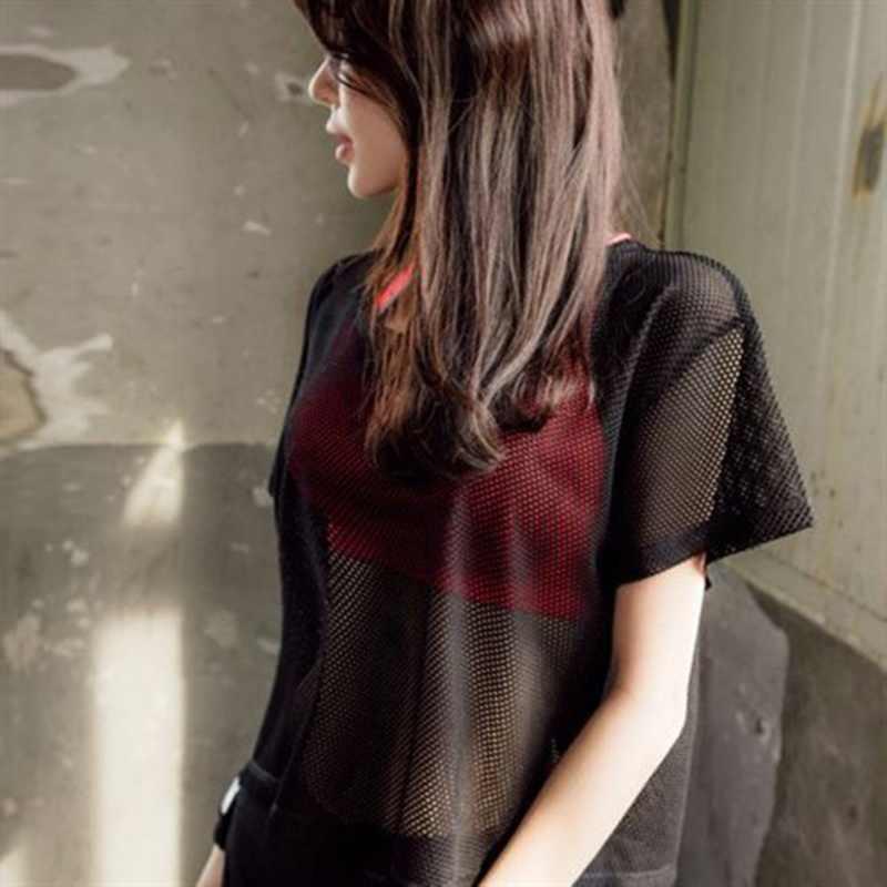 Белая свободная футболка с коротким рукавом, футболка, Женский сетчатый топ с круглым вырезом, открытые сексуальные шорты в стиле панк-рок, укороченный топ в сеточку черного цвета