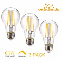 Leadleds 3PCS led edison bulb dimmable Super Bright 6.5W E27 120V Retro filament light LED Lamp lampadas Chandelier Light