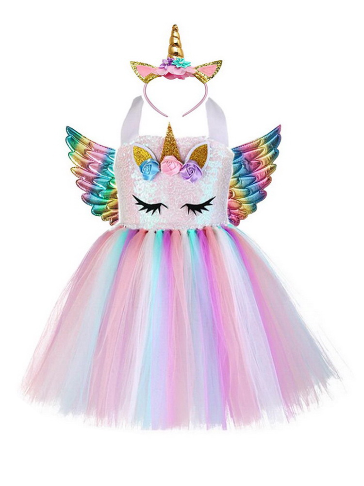 Unicorn Costume Dress Princess Cosplay Wings Rainbow Halloween Girls Kids with Headband
