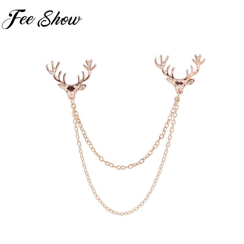 Fashion Unisex Deer Head Double Link Chains Tassels Collar Brooch Sweater Shawl Clips Cardigan Collar Clip Holder Decoration