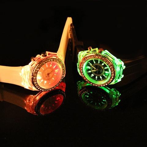 LED Light Flash Luminous Watches Women Men Boys Girls Silicone Wrist Watch Fashion Rhinestone Clock Kids Children Relogio Saati Islamabad