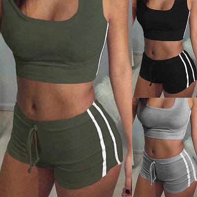 New Summer Women Sets Cropped Tops Shorts Set 2 Pieces Sets Women Tracksuit Cotton Blend T Shirt Shorts