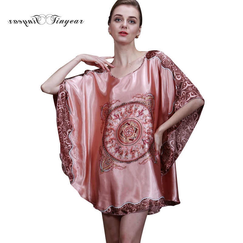 Tinyear 2017 New Summer Style Luxury Women Nightgown Silk Ladies Sleep  shirts Dressing Gowns Female Bathrobe Bath Lounge 10013-in Nightgowns    Sleepshirts ... 8a609c09a