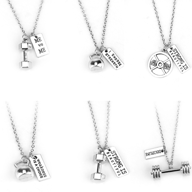 Fitness Gym Necklace Dumbbell Necklace Pendant Jewelry Bodybuilding Necklaces Me