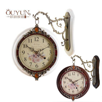 Europe Type Double faces Solid Wood Wall Clock, Mediterranean Style Fashion Personality Home Accessories,Quiet Rustic Clock