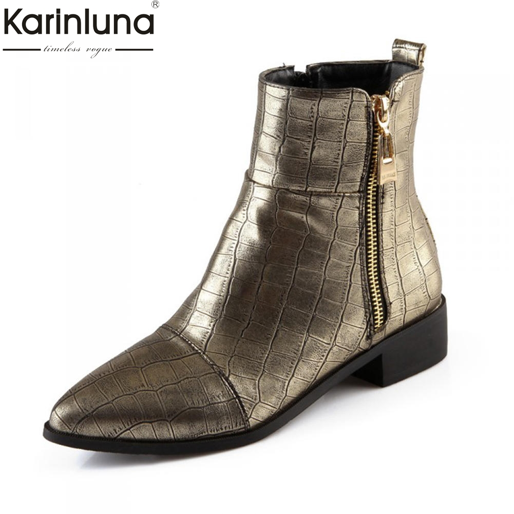 цена на KarinLuna 2018 plus size 30-50 pointed toe square heels add fur warm winter boots woman shoes woman Ankle Boots female