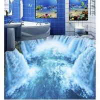 Wear resisting 3D mural Beautiful Waterfall Floor Wallpapers For Bedroom Bathroom Wall Stickers Removable Waterproof Home Decor