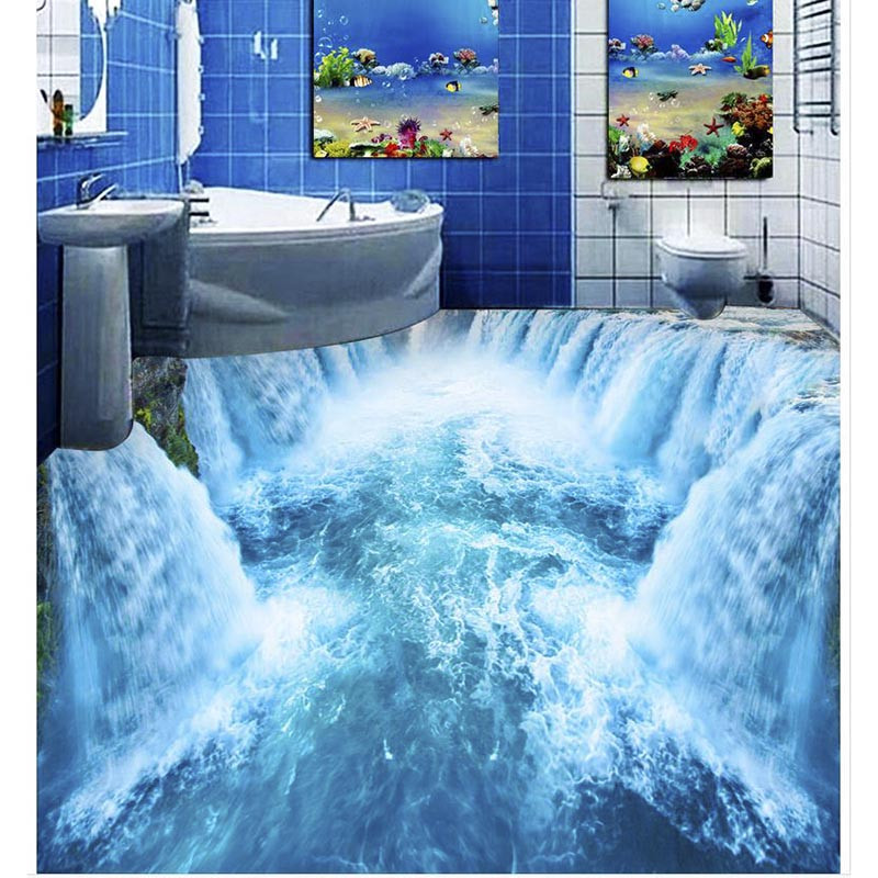 Wear Resisting 3d Mural Beautiful Waterfall Floor Wallpapers For Bedroom Bathroom Wall Stickers