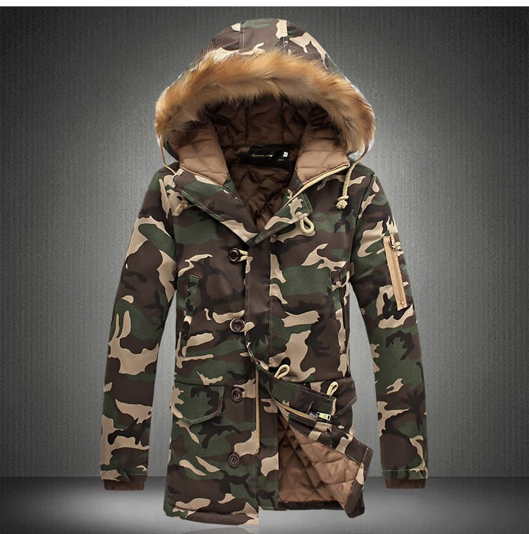 Aolamegs Camouflage Parkas Winter Jacket Men Military Style Medium-long Hooded Winter Coat Cotton-Padded Warm Jackets Plus Size (17)