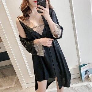 Image 4 - MECHCITIZ Sexy vrouwen Robe & Gown Sets Kant Badjas + Night Jurk 2 Stuks Nachtkleding Womens Slaap Set Zijde robe Femme Lingerie