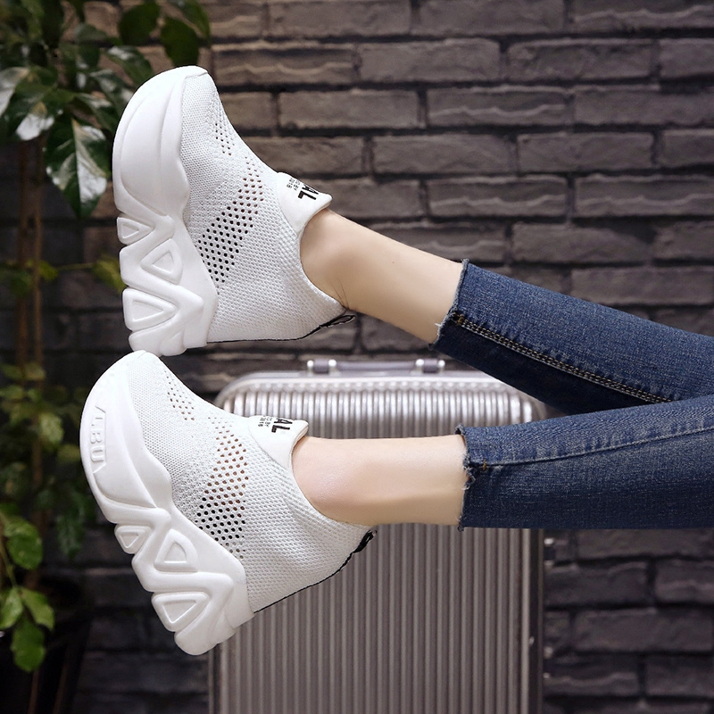 SWYIVY Casual Shoes Platform Woman Summer Breathable 2018 Autumn Hot 11cm Hollow Female Fashion White Slip On Sneakers Wedge