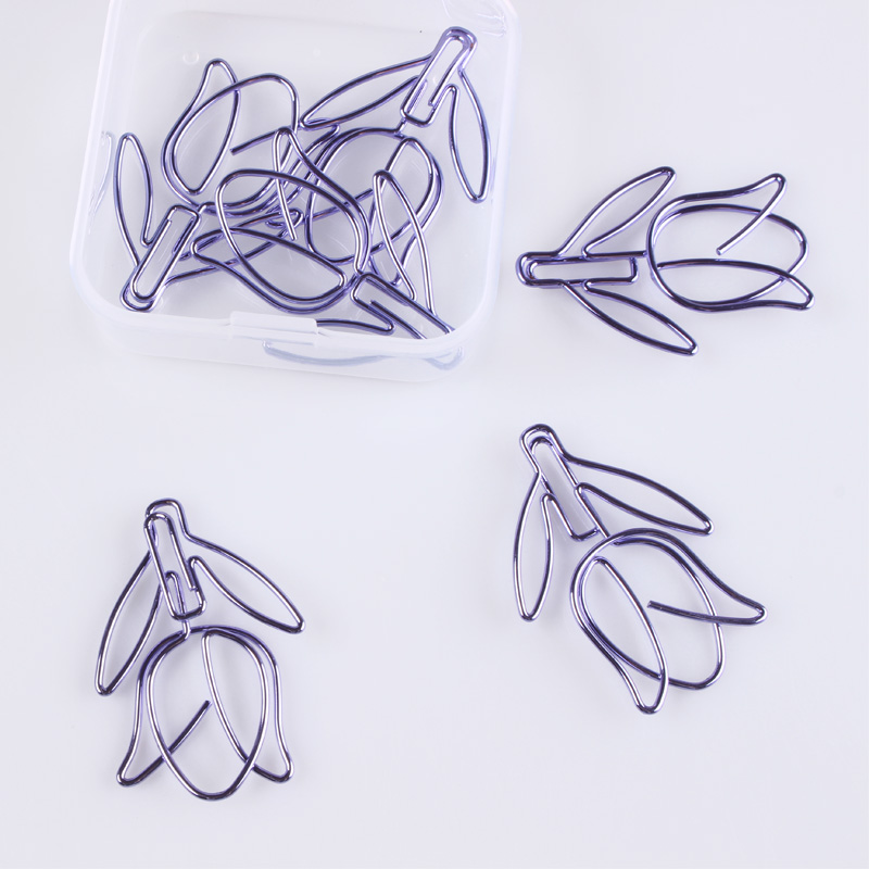 12pcs/box Star Purple Metal Paper Clip Notes Photo Letter Bookmark Office Shool Stationery DIY Diary Album Decorative Clip