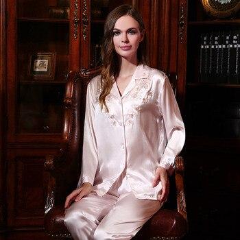 Free shipping New Women Sleepwear 100% Silk Pajamas Sets Women's Long-Sleeved Set Pyjamas YE2507
