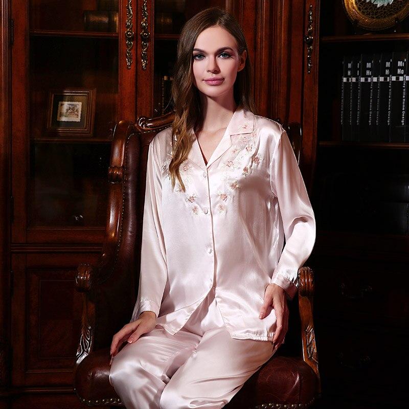 Livraison gratuite nouveau femmes vêtements de nuit 100% soie Pyjamas ensembles femmes à manches longues ensemble Pyjamas YE2507