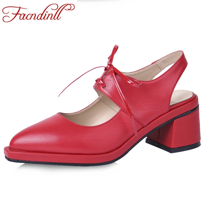 FACNDINLL brand shoes women genuine leather pumps fashion pointed toe lace-up high heels woman shoes black summer casual shoes facndinll women gneuine leather pumps shoes new fashion spring summer med heels pointed toe shoes woman dress party casual shoes